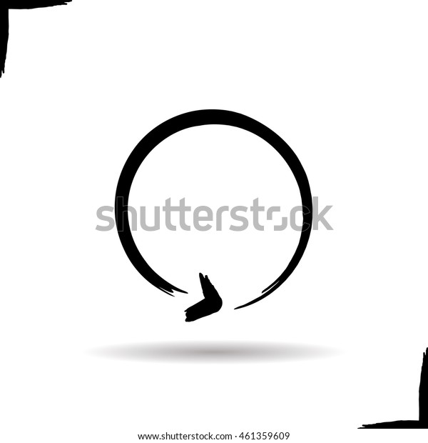Refresh ink arrow icon. Drop shadow cycling brush stroke art symbol. Reload and replay symbol. Vector isolated illustration