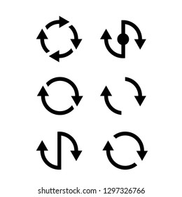 refresh recycle icons vector arrows, circle vector icon  design, set flat black icon process flow, rotation logo, reload symbol isolated, refresh sign