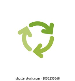refresh or reload icon. Three green  round rotation arrows isolated on white. Flat icon. Exchange icon. Good for web and software interfaces.  Cyclical process. Diagram. Circular arrows.