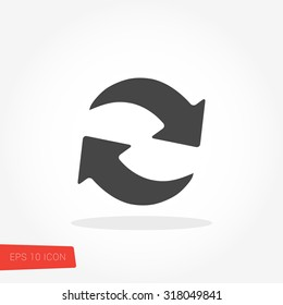 Refresh, Reload Isolated Flat Web Mobile Icon / Vector / Sign / Symbol / Button / Element / Silhouette