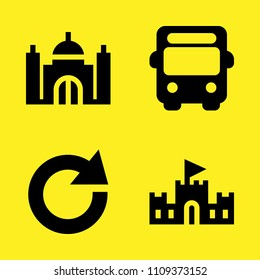 refresh, sand castle, taj mahal and bus vector icon set. Sample icons set for web and graphic design