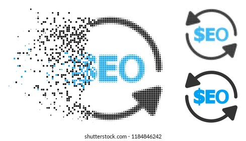 Refresh seo icon in fragmented, dotted halftone and solid variants. Fragments are arranged into vector disappearing refresh seo shape. Disappearing effect uses square scintillas.
