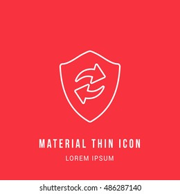 Refresh Shield Bright red material designed line thin flat icon / logo