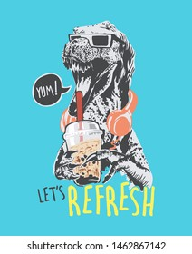 refresh slogan with dinosaur drinking bubble tea illustration