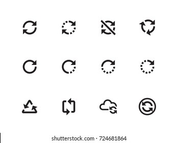 Refresh and Sync vector icons on white background. Vector illustration.