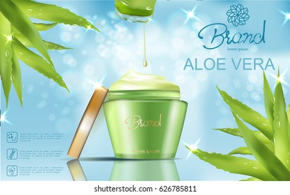 Refreshing cosmetic ad , green container package template with aloe elements isolated on sky blue background, vector realistic illustration with bokeh and sparkles elements.