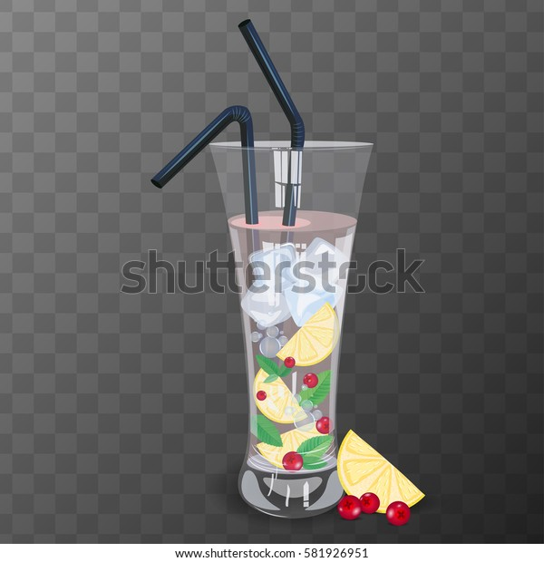 Refreshing drink with cranberry, lemon and mint vector illustration.