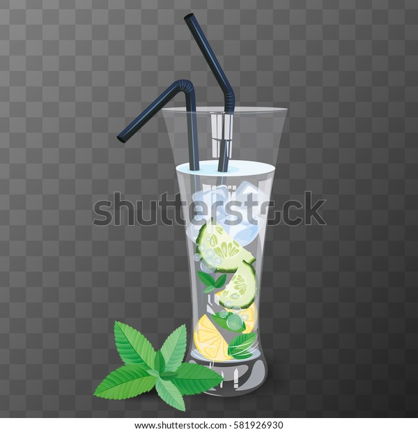 Refreshing drink with cucumber, lemon and mint vector illustration.