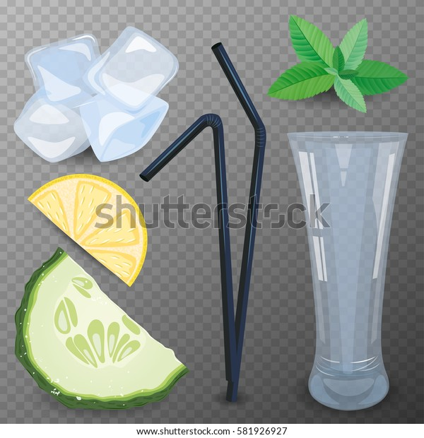 Refreshing drink ingredients with cucumber, lemon and mint vector illustration.