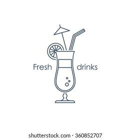 Refreshing drinks and cocktails, bar menu illustration