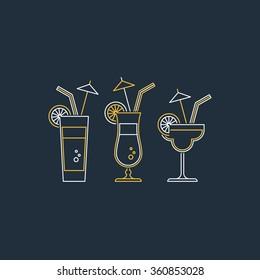 Refreshing drinks, different cocktails, fresh juice, bar menu illustration