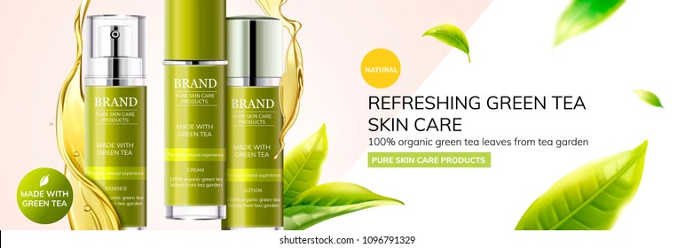 Refreshing green tea skin care products with leaves flying in the air on geometry background