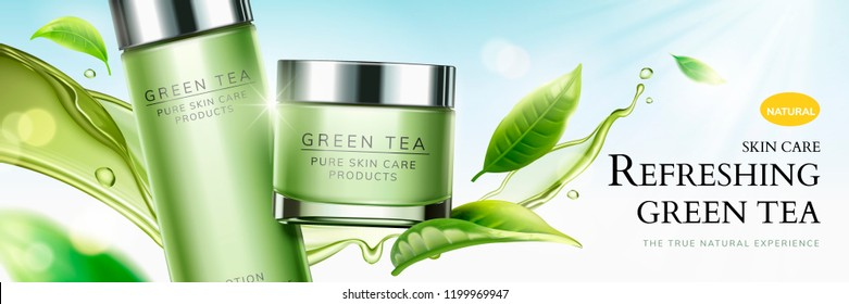 Refreshing green tea skin care banner ads with flying leaves and splashing liquid in 3d illustration