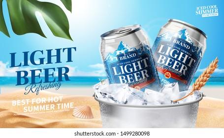 Refreshing light beer in ice bucket on summer beach background, 3d illustration beverage ads