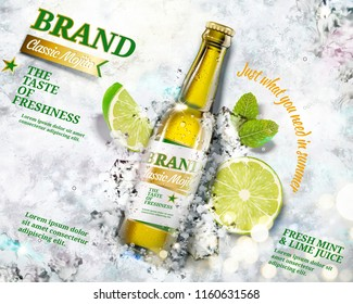 Refreshing mojito ads with a bottle of beverage laying on crushed ice background in 3d illustration