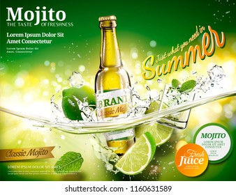 Refreshing mojito ads with a bottle of beverage dropping into transparent liquid in 3d illustration, green bokeh background
