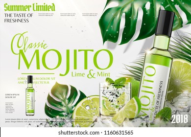 Refreshing mojito ads with ice cubes and limes in 3d illustration, tropical leaves background