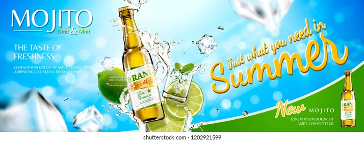 Refreshing mojito banner ads with sliced fruit and ice cubes on blue sky background, 3d illustration