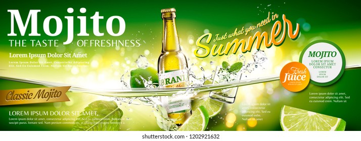 Refreshing mojito banner ads with sliced fruit and ice cubes floating in the water, 3d illustration
