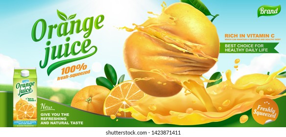 Refreshing orange juice ads with splashing liquid and twisted fruits on bokeh background in 3d illustration
