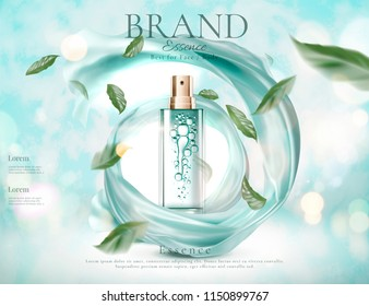 Refreshing skincare spray with flying green leaves and swirling satin in 3d illustration on light blue glitter background