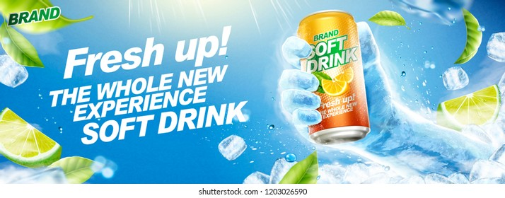 Refreshing soft drink banner ads with frozen hand holding beverage in 3d illustration