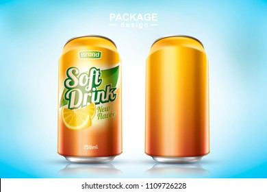 Refreshing soft drink metal can design in 3d illustration, one in blank and the other with ad