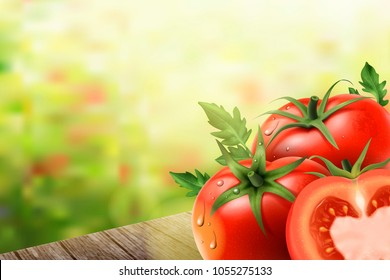 Refreshing tomatoes elements, tomatoes on wooden tables in 3d illustration, bokeh background