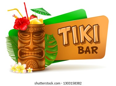 Refreshing Tropical Cold Tiki Drink Cocktail. Tiki Bar Label. Vector Illustration. Isolated On White Background.