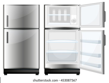 Refridgerator with closed and opened door illustration