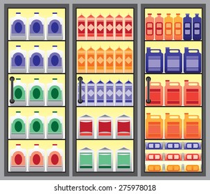 Refrigerated supermarket display case with multiple beverages