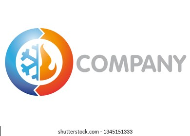 Refrigeration, Air Condition and Heating Company Logo Vector Template