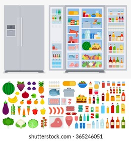 Refrigerator collection vector flat illustration. Cooking and kitchen concept. Refrigerators in the room, variety of fruits and vegetables, meat, beverages isolated on white background