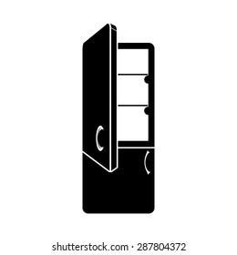 refrigerator with the doors open