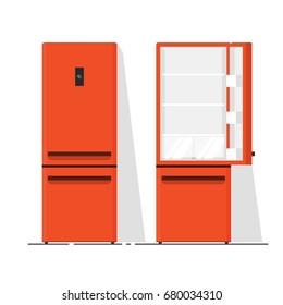 Refrigerator empty vector illustration, flat cartoon open and closed fridge isolated on white background