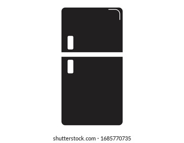 Refrigerator, Freezer Appliance Icon with Solid Black Color