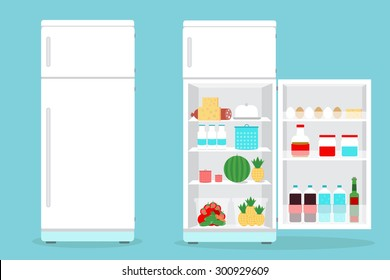 Refrigerator or Fridge opened with food.
