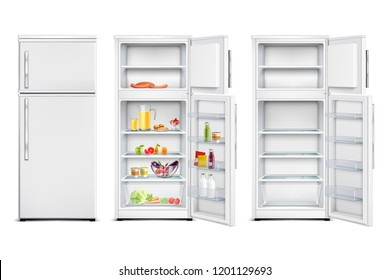 Refrigerator fridge realistic set of isolated cold storage units with products open and closed door vector illustration