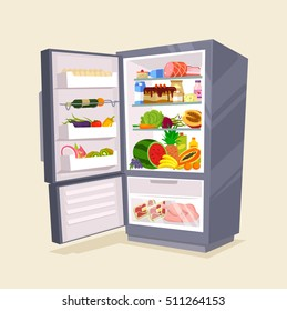 Refrigerator full of tasty food. Vector flat cartoon illustration