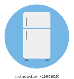 Refrigerator grey icon vector design isolated on blue background.