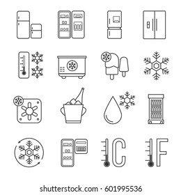 Refrigerator, home freezer and industrial fridge linear icons. Food frozen and cold machine thin line signs. Equipment for kitchen, refrigerator functions technology illustration