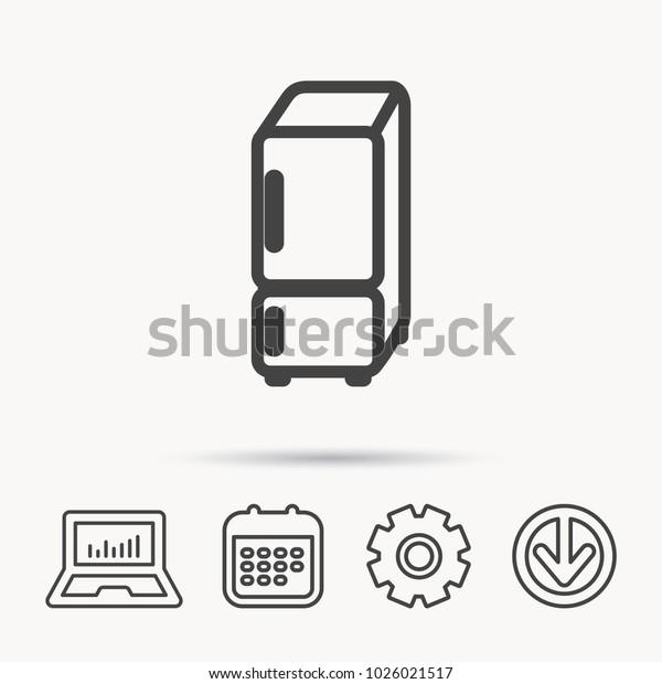 Refrigerator Icon Fridge Sign Notebook Calendar Stock Vector