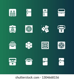 refrigerator icon set. Collection of 16 filled refrigerator icons included Fridge, Extractor, Cooler, Freezer, Portable fridge, Ice, Rice cooker, Ice box, Refrigerator, Minibar