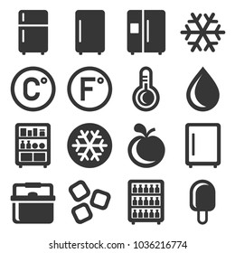 Refrigerator Icons Set on White Background. Vector
