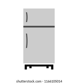 refrigerator illustration - vector fridge isolated - home kitchen appliance. electric household