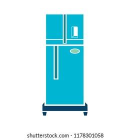 refrigerator illustration - vector fridge isolated - home kitchen appliance
