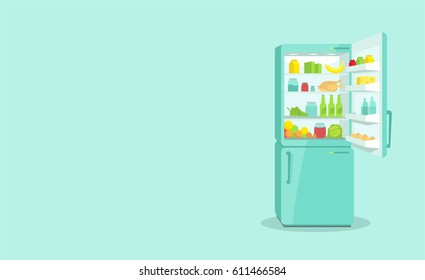 Refrigerator with an open door. Products and household appliances
