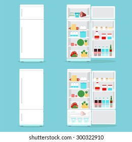 Refrigerator opened with food.