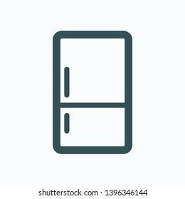 Refrigerator outline icon, kitchen fridge, freezer isolated vector icon