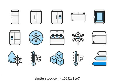 Refrigerator related color line icons. Fridge vector linear colorful icon set. Isolated icon collection on white background.